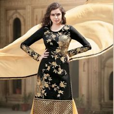 Lovely Black Party Wear Banglori Silk Salwar Kameez