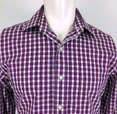 Brooks Brothers 346 Purple Plaid L/S Casual Dress Shirt Men's 15 34/35 Slim Fit #BrooksBrothers #ButtonFront