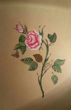 Flower Prints, Flower Art, Flower Wreath Illustration, Blue And White Roses, Peony Colors, Iranian Art, Turkish Art, Amazing Paintings, Fabric Painting
