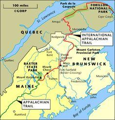 Eastern Continental TrailAppalachian TrailInternational - At trail map