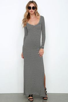 Amuse Society Camille Black and Ivory Striped Maxi Dress