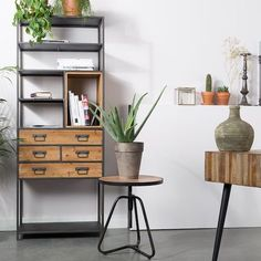 Samuel Industrial Display Cabinet, £479.40 sale price from Cuckooland (affiliate partner) Industrial Home Offices, Industrial Style Furniture, Pipe Furniture, Furniture Design, Wooden Furniture, Industrial Design, Cosy Sofa, Large Shelves, Sit Back And Relax