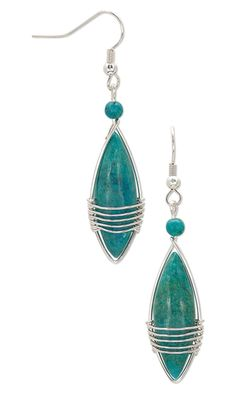 Earrings with Turquoise Gemstone Beads and Wirework - Fire Mountain Gems and Beads