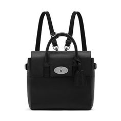 Mulberry - Mini Cara Delevingne Bag in Black Natural Leather DEAR GOD. A small, beautiful purse, full closure, black with silver hardware and A TURNLOCK. *cry*