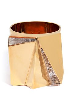 VIONNET Cuff Bracelet with Crystals in Bronze Gold