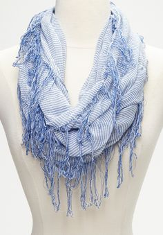 Blue & White Pinstripe Infinity Scarf cute and charmingly cozy looking perfect for on a run