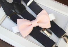Light Pink bow-tie & Navy elastic suspender set by bananaribbon