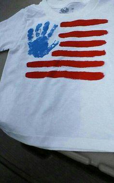 cute idea hand print flag shirt