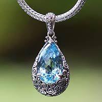Blue topaz pendant necklace, 'Azure Teardrop' by Zayd Makarim, Bali