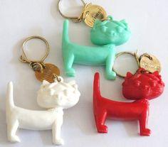 Vintage French advertasing Keychain lot of 3 Cat UNIMEL
