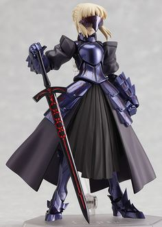 """The tyrant clad in black armor. From """"Fate/stay night"""" comes a figma of the knight dyed in darkness - Saber Alter! Using the smooth yet poseable joints of figma, you can act out various scenes. Two expressions are included: her typica. Fate Stay Night, Otaku, Black Armor, She Mask, Anime Toys, Anime Figurines, Monster Hunter, Cultura Pop, Alters"""