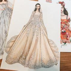 """2,058 curtidas, 25 comentários - Eris Tran (@eris_tran) no Instagram: """"Bridal of the day! My sketch #sketching #draw #dress #drawing #bridal #weddingdress #fashion…"""""""