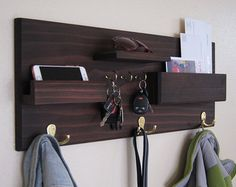 Coat Rack with Shelf Mail Pocket Key Hooks by MidnightWoodworks