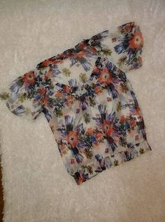 CHARLOTTE RUSSE Sheer Floral V Neckline Blouse Shirt Top Women's Medium EUC  #CharlotteRusse #Blouse #Casual
