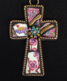 Mosaic cross by Lisa Skibenes  Vintage china, jewelry