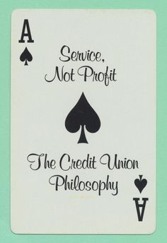 Credit Union playing card single swap ace of spades - 1 card