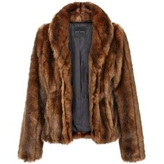 Dark Brown Faux Fur Shawl Collar Coat (315 RON) ❤ liked on Polyvore featuring outerwear, coats, long sleeve coat, faux fur coats, shawl collar coat, brown faux fur coat and fake fur coats