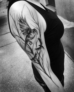 Wonderful black ink sketch style sleeve tattoo of birds in forest