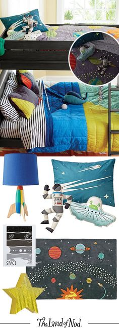 Creating a space themed kids room? Blast off with tons of cosmic kids décor, bedding, toys and more.