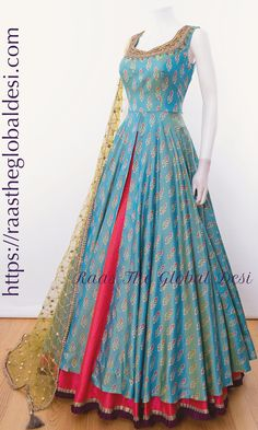 Best 11 Beautiful gray and mustard yellow color combination floor length dress with floral design ahnd embroidery gold trhead work on yoke. This – SkillOfKing. Party Wear Indian Dresses, Indian Fashion Dresses, Indian Gowns Dresses, Dress Indian Style, Indian Wedding Outfits, Indian Designer Outfits, Indian Outfits, Fashion Outfits, Designer Anarkali Dresses
