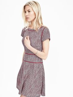 Tweed Fit-and-Flare Dress | Banana Republic