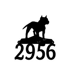 Pitbull Dog Metal Address Numbers Metal House by MegaMetalDesigns