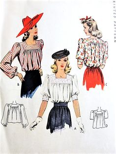 BEAUTIFUL Blouse Pattern McCALL 4220 Square Neckline Tuck In Blouse, 3 Style Versions, WW II Era Bust 30 Vintage Sewing Pattern-Authentic vintage sewing patterns: This is a fabulous original dress making pattern, not a copy. Because the sewing Motif Vintage, Vintage Dress Patterns, Blouse Vintage, Retro Mode, Vintage Mode, Vintage Outfits, Vintage Dresses, 1940s Fashion, Vintage Fashion