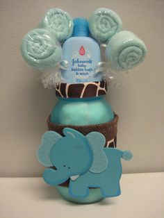 Baby Shower Elephant Mason Jar Safari Centerpiece Washcloth Lollipop Table  Decoration Gift