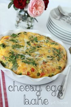 Cheesy Egg Bake - feeds 12 - perfect for holiday breakfast!
