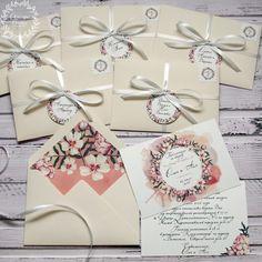 """Купить Приглашение в конверте """"Нежные пионы"""" - бежевый, нежно-персиковый, акварель, приглашения на свадьбу, пригласительные"""