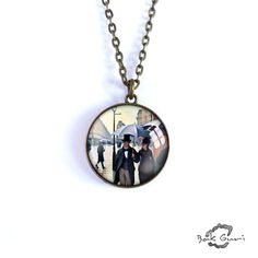 Art necklace, Gustave Caillebotte, Paris Street, Rainy Day pendant, artwork jewelry, charm art picture necklace, simple necklace