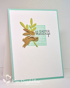 THURSDAY, MARCH 7, 2013    Easter Blessings Bunnies | Stamps: Verve Egg-stra Special (sentiment), Papertrey Ink Bitty Background Basics  Paper: Papertrey Ink Aqua Mist, Spring Moss, Sweet Blush  Ink: Papertrey Ink Aqua Mist, Sweet Blush  Accessories: CC Designs Mistletoe Die, Martha Stewart grass border punch, Impression Obsession Bunny Set, Stampin' Up Pink ribbon, Papertrey Ink Kraft felt, misc white felt