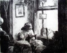 Edward Hopper etchings - Eastside Interior
