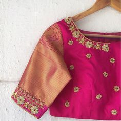 An exquisitely embroidered pink and gold blouse perfect for your silk saree. Visit Lavender, The Boutique to get your custom-made blouse… Cutwork Blouse Designs, Simple Blouse Designs, Stylish Blouse Design, Bridal Blouse Designs, Blouse Neck Designs, Blouse Designs Catalogue, Hand Work Blouse Design, Designer Blouse Patterns, Gold Blouse