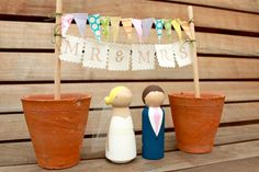 MR & MRS BUNTING for your Custom Wooden Bride by ProverbialDaisies, £8.00