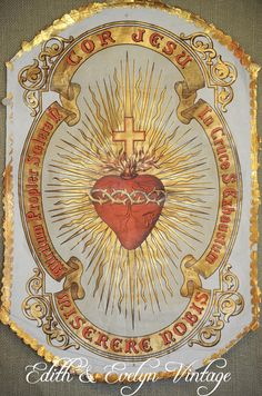 Catholic Prayers, Catholic Art, Religious Art, Christian Symbols, Christian Art, Sacred Heart Tattoos, Jesus E Maria, Catholic Pictures, Vintage Holy Cards