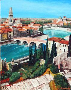 Verona Italy -  Painting of the river flowing through the romantic city of Verona.  #italian #art