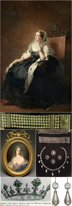 Winterhalter's 1862 portrait of Empress Eugenie of France (1) depicts her wearing a pair of bracelets composed of pearls and brilliants (2 & 3). Her jewels for another portrait, by de Pommayrac, dated 1860-65 (6), include a string of pearls with pendant pearls (3) and a diadem made for her in 1858 by Fontenay (5). In 2015, Siegelson auctioned a pair of grey pearls once owned by the empress (4), which she may have worn in her earrings for both portraits. CLICK THROUGH FOR LARGER, HI-RES…
