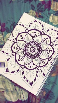 dibujos-de-mandalas-elementos-de-flores-simbolo-de-yin-yan-fácil-de-dibujar