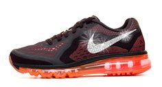 Women's Nike Air Max 360 Running Shoes By Glitter Kicks - Customized With Swarovski Crystal Rhinestones - Black/Orange