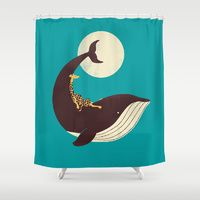 Shower Curtains featuring The Giraffe & the Whale by Jay Fleck