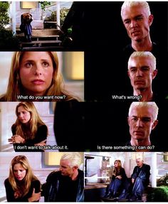 goes from angry to concerned so quickly when he sees Buffy crying.awwwwwwSpike goes from angry to concerned so quickly when he sees Buffy crying. Spike Buffy, Buffy The Vampire Slayer, Joss Whedon, Buffy Season 5, Buffy Summers, Sarah Michelle Gellar, Our Lady, Best Tv, Favorite Tv Shows