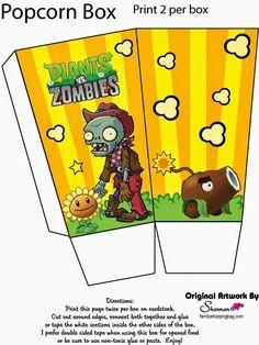 Plantas vs Zombies. Plants Vs Zombies, Zombies Vs, Zombie Birthday Parties, Zombie Party, Birthday Party Games, 7th Birthday, Birthday Ideas, Birthday Popcorn, Plantas Versus Zombies
