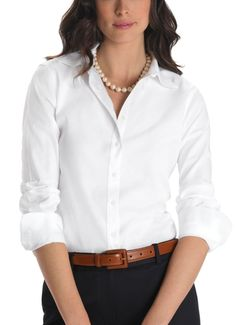 Short on time? This no-fuss favourite is a great option for women on the go. Non-iron classic fit dress shirt, $99, Brooks Brothers.