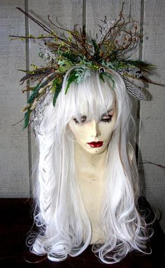 Wild Morning Mist, Feral Twig Fairy - Full WIG,  Hair Headpiece Costume Faerie world Renaissance  Wedding Burning Man theater