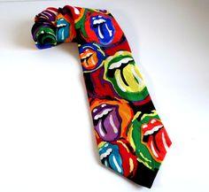 Vintage RM Style Rock 'n Roll 'Painted Tongues' Silk Tie by TimelessTreasuresbyM on Etsy