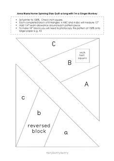 paper piecing template for spinning star block