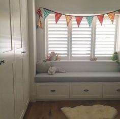 Built in window seat / toy drawers, shutters, wardrobe door profile Sally Rhys-Jones Sydney Australia