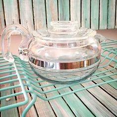 Vintage Pyrex Teapot Flameware Glass 6 Cup Blue Tint 8446 B Tea Kettle w Lid | eBay
