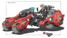 Cool artwork by Heng Z! Futuristic Motorcycle, Futuristic Art, Robot Concept Art, Concept Cars, Dirigible Steampunk, Crea Design, Character Art, Character Design, Nave Star Wars